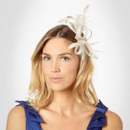 Light grey loop & feather hair clip fascinator