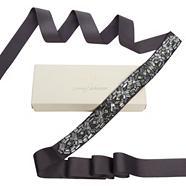 Designer-Hochzeitskleidgürtel mit Perlenverzierung und Chevron-Muster, dunkelgrau