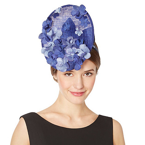 Top Hat by Stephen Jones - Designer blue blossom disc hair piece