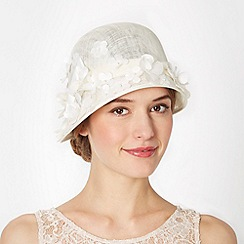 Top Hat by Stephen Jones - Designer ivory blossom cloche hat