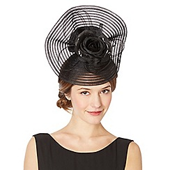 Top Hat by Stephen Jones - Designer black striped crinkle flower hair piece