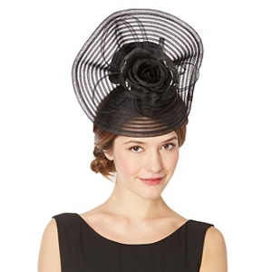 Top Hat by Stephen Jones Designer Black Striped Crinkle Flower Hair Piece