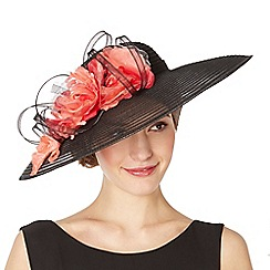 Top Hat by Stephen Jones - Designer black striped floral down brim hat