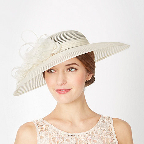 Top Hat by Stephen Jones - Designer ivory striped floral down brim hat