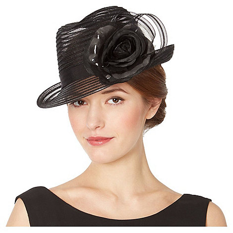 Top Hat by Stephen Jones - Designer black striped floral hat
