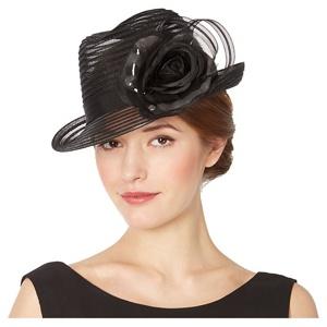 Top Hat by Stephen Jones Designer Black Striped Floral Hat