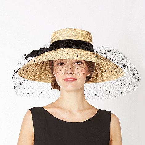Top Hat by Stephen Jones - Designer natural velvet bow veil hat