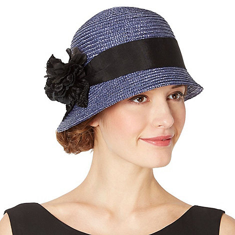 Top Hat by Stephen Jones - Designer dark blue corsage hat