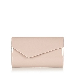 Debut - Mid rose patent asymmetric flap over clutch bag