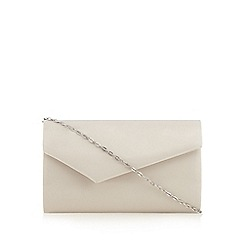 Debut - Light grey patent asymmetric flap over clutch bag