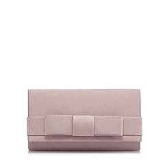 Debut - Rose bow front satin clutch bag