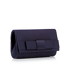 Debut - Navy satin bow clutch bag