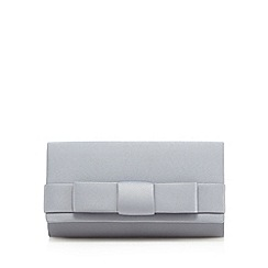 Debut - Grey bow front satin clutch bag