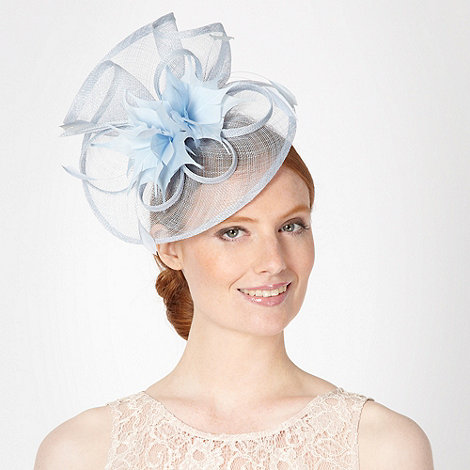Debut - Light blue pointed feather corsage fascinator