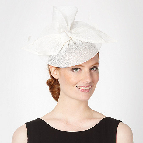 Debut - Cream polka dot bow disc fascinator
