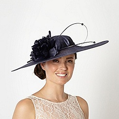 Hatbox - Navy flower quill saucer fascinator