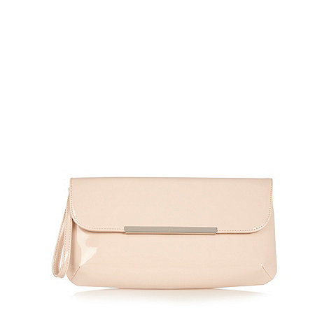 J by Jasper Conran - Designer light pink metal edge patent clutch bag