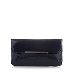 J by Jasper Conran - Designer navy patent metal trim clutch