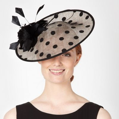 Designer black polka dot saucer fascinator