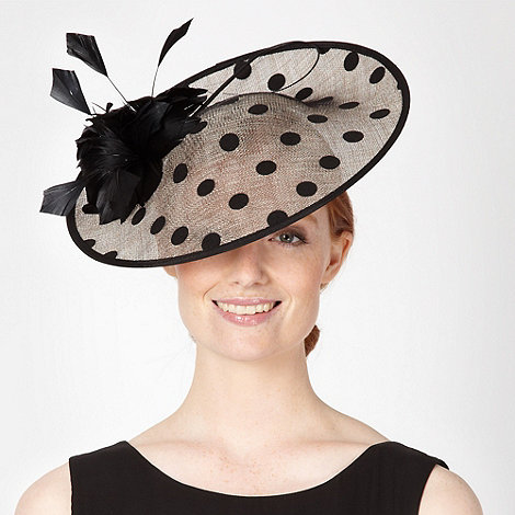 J by Jasper Conran - Designer black polka dot saucer fascinator