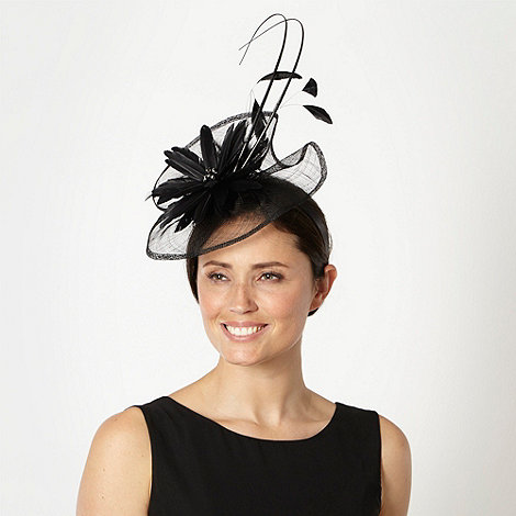 J by Jasper Conran - Designer black printed flower wave fascinator