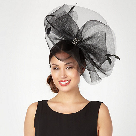 J by Jasper Conran - Designer black centre bow jewelled fascinator
