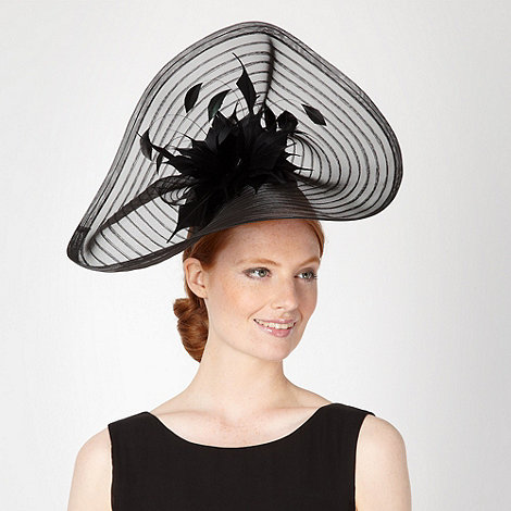 J by Jasper Conran - Designer black striped wave saucer fascinator