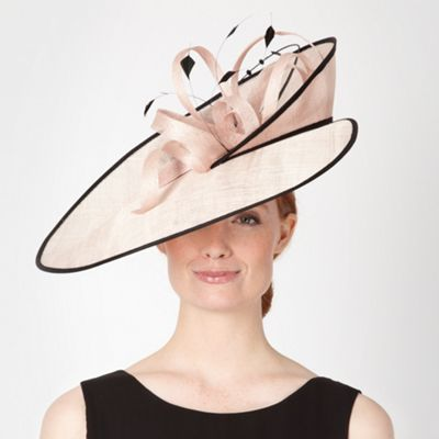 Designer light pink layered brim fascinator