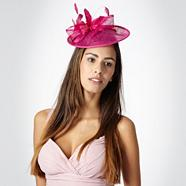 Bright pink lamour saucer fascinator