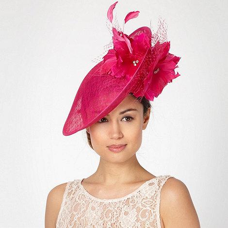 Star by Julien Macdonald - Designer bright pink mesh floral saucer fascinator
