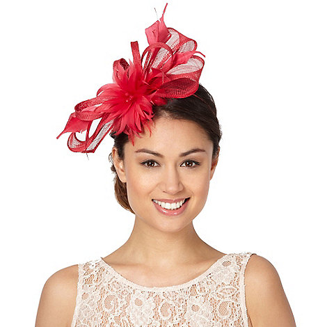 Principles by Ben de Lisi - Designer bright pink twisted bow and feather flower fascinator