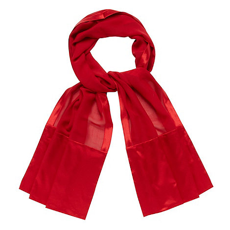 Debut - Red satin bordered chiffon stole