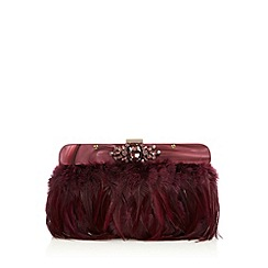 No. 1 Jenny Packham - Designer dark pink feather clutch bag