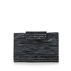 No. 1 Jenny Packham - Designer black pearl effect hard case clutch bag