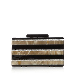 No. 1 Jenny Packham - Designer black glitter stripe hard box clutch bag