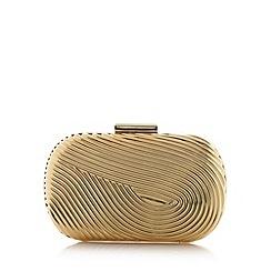 No. 1 Jenny Packham - Designer gold metal swirl hard case clutch bag