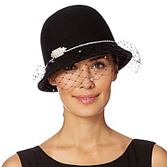 Top Hat by Stephen Jones - Designer black diamante trim veiled cloche hat