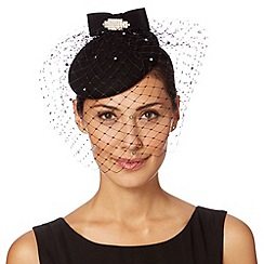 Top Hat by Stephen Jones - Designer black diamante bow button headband