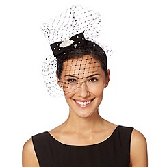 Top Hat by Stephen Jones - Designer black diamante bow veiled headband