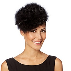 Top Hat by Stephen Jones - Designer black feather button headband