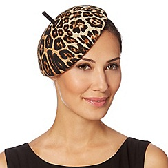 Top Hat by Stephen Jones - Designer natural leopard button beret