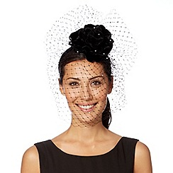 Top Hat by Stephen Jones - Designer black velvet flower veiled headband