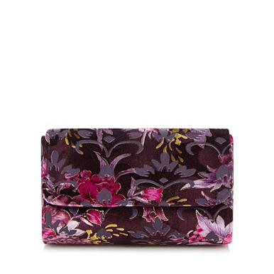 ... Occasion  evening wear Bags  purses Purple floral velvet clutch bag