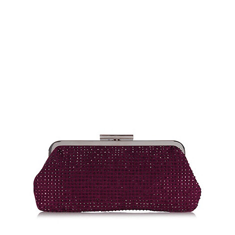 Debut Purple rhinestone embellished clutch bag
