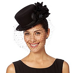 Top Hat by Stephen Jones - Designer black veiled hat headband