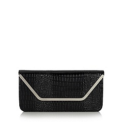 Top Hat by Stephen Jones - Designer black mock croc envelope clutch bag