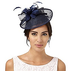 Debut - Navy feather flower saucer fascinator
