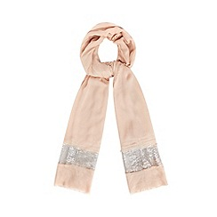 Debut - Pale pink sequin border pashmina