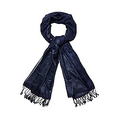 Debut - Navy metallic striped scarf