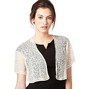 Ivory gathered sequin bolero